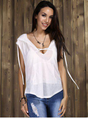 Sexy Hooded Cowl-back Tunics For Women - White - S