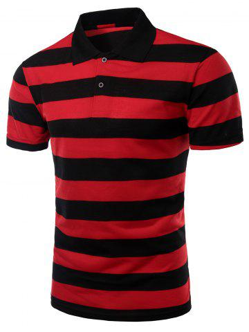 Online Striped Turn-down Collar Short Sleeves Polo Shirt For Men RED 3XL