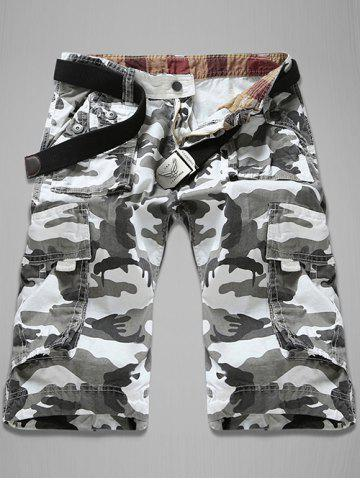 Hot Trendy Loose Fit Men's Multi-Pockets Camo Printed Cargo Shorts WHITE 34