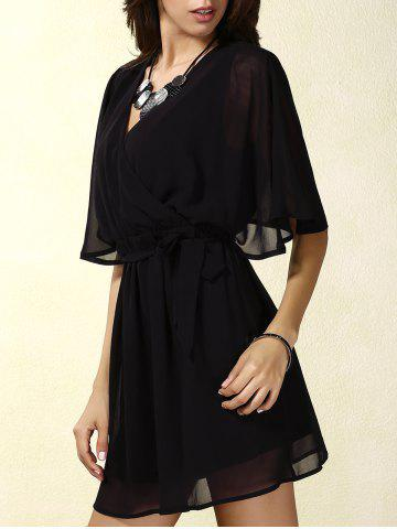 Discount Stylish V-Neck Short Sleeve Lace Splicing Wrap Dress For Women