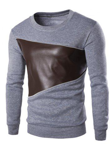 Fashion Color Block PU Leather Splicing Round Neck Long Sleeves Sweatshirt For Men LIGHT GRAY 2XL