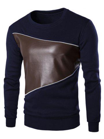 Store Color Block PU Leather Splicing Round Neck Long Sleeves Sweatshirt For Men CADETBLUE M