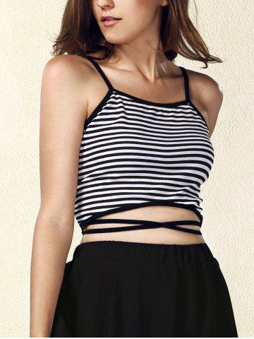 New Criss Cross Striped Strappy Crop Top