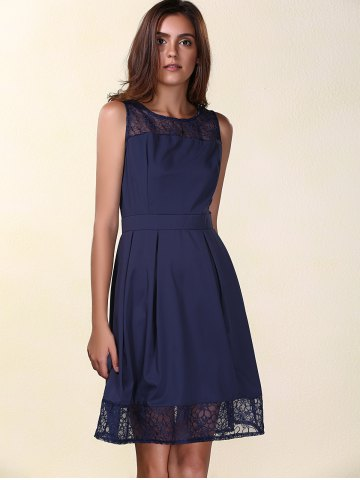 Fashion Trendy Round Neck Sleeveless Lace Spliced Solid Color Women's Dress PURPLISH BLUE S