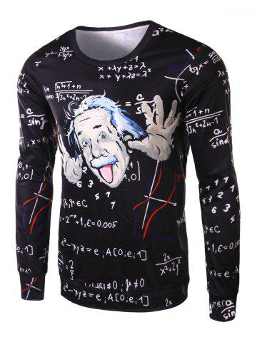 Unique Fashion Slimming Round Neck 3D Mathematician Pattern Long Sleeve Polyester T-Shirt For Men