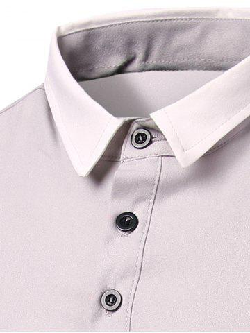 Best Stylish Stripes Turn-down Collar Color Block  Short Sleeves Polo T-Shirt For Men - M GRAY Mobile
