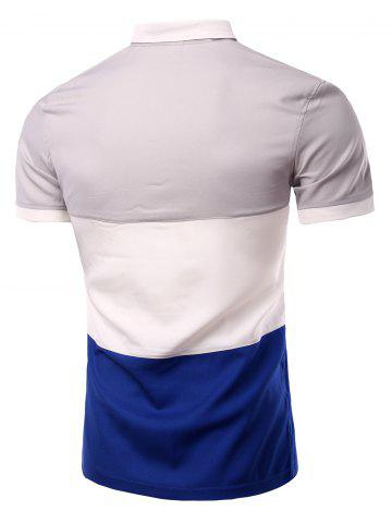 New Stylish Stripes Turn-down Collar Color Block  Short Sleeves Polo T-Shirt For Men - M GRAY Mobile