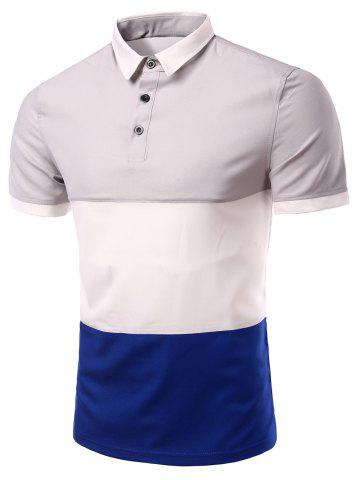Affordable Stylish Stripes Turn-down Collar Color Block  Short Sleeves Polo T-Shirt For Men GRAY M