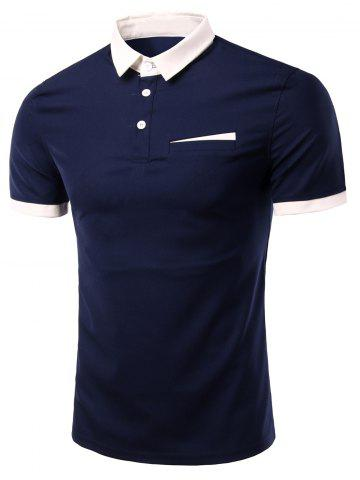 Discount Fashion Turn-down Collar Solid Color Short Sleeves Polo T-Shirt For Men