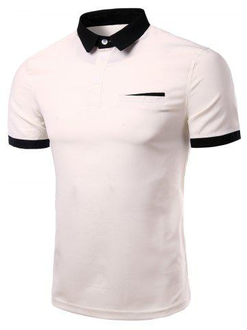 Trendy Fashion Turn-down Collar Solid Color Short Sleeves Polo T-Shirt For Men - 3XL WHITE Mobile