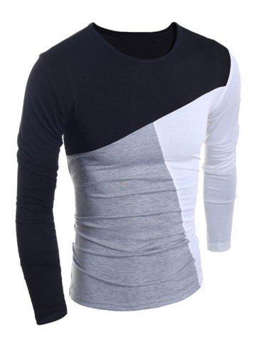 Outfits Fashionable Round Neck Classic Color Splicing Slimming Long Sleeves Men's T-Shirt