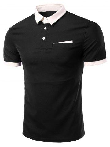 Store Fashion Turn-down Collar Solid Color Short Sleeves Polo T-Shirt For Men - 3XL BLACK Mobile