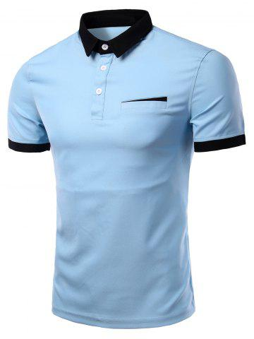 Fashion Fashion Turn-down Collar Solid Color Short Sleeves Polo T-Shirt For Men - LAKE BLUE 3XL Mobile