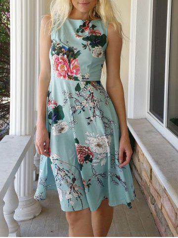 Fancy Vintage Jewel Neck Sleeveless Floral Print Belted A-Line Tea Dress For Women LAKE GREEN S