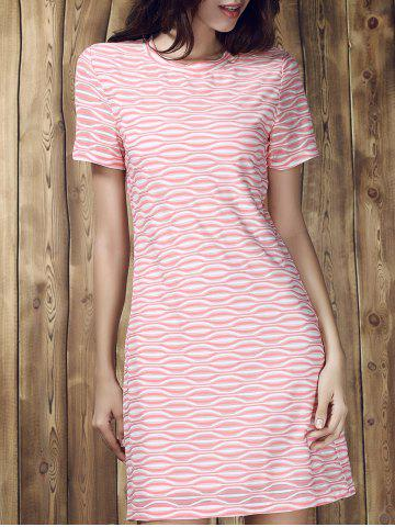 New Round Collar Stripe Short Sleeve Dress COLORMIX S