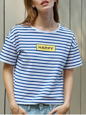 Chic Casual Striped Letter Print Women's T-Shirt