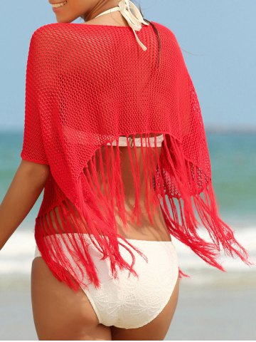 Trendy Trendy Scoop Neck Fringed Openwork Women's Cover-Up