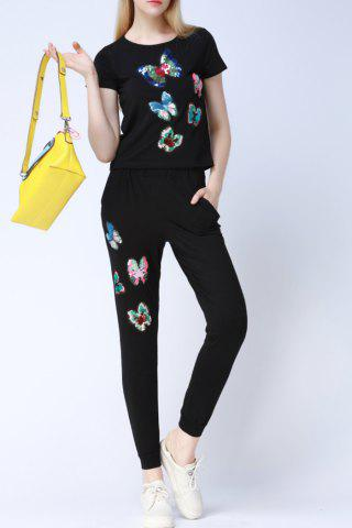 Trendy Butterfly Pattern Sequins T-Shirt and Pants Twinset
