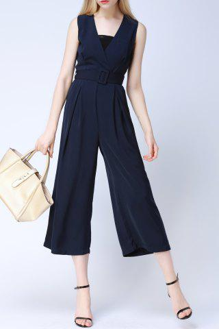Store V-Neck Sleeveless Belted Jumpsuit