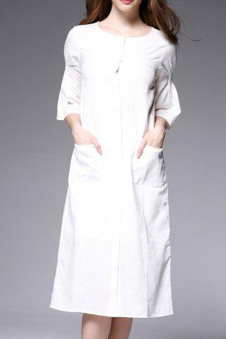 Store Round Neck Pockets Solid Color Loose Dress