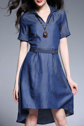 Shop High Low Hem Chambray Belted Dress