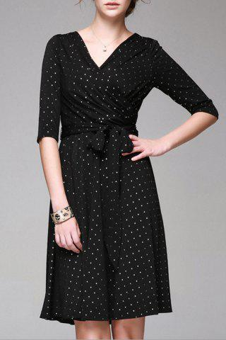 Affordable V Neck Polka Dot Print Half Sleeve Dress