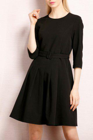 Outfit Simple Style A Line Belted Dress