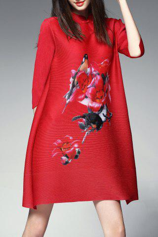 Store Mini Mandarin Floral Tunic Dress RED ONE SIZE(FIT SIZE XS TO M)