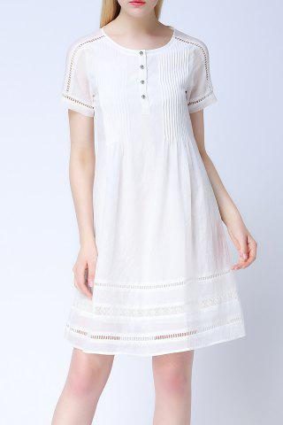 Chic Round Neck Hollow Out Solid Color Dress