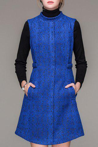 Best Stand Collar Jacquard Worsted Dress
