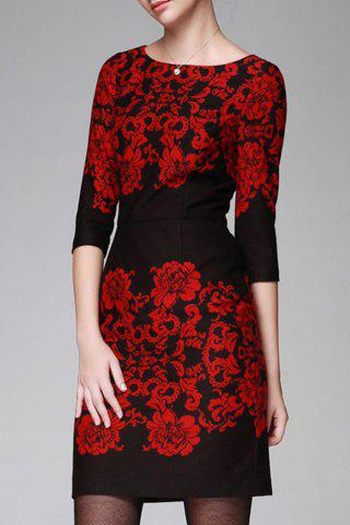 Discount Floral Pattern Bodycon 3/4 Sleeve Dress
