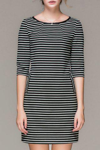Chic Striped Double Pockets Mini Dress