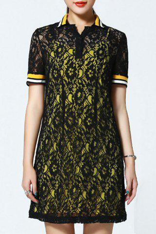 Discount Polo Collar Lace Dress and Tank Top Twinset
