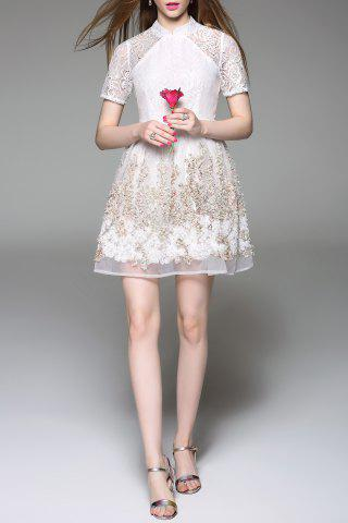 Sale Stand Collar Tiny Floral Lace Spliced Dress