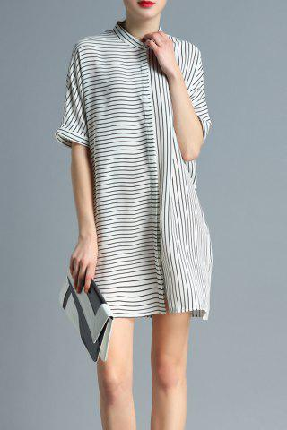 Store Stand Neck Half Sleeve Striped Shirt Dress