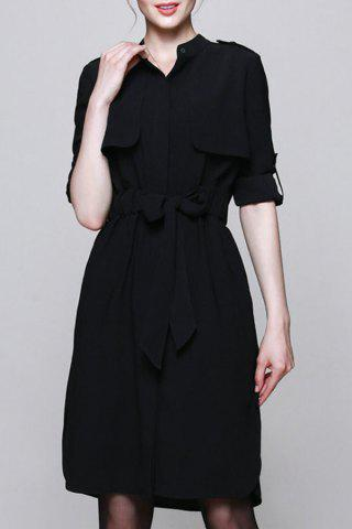 Latest Stand Collar Belted Solid Color Shirt Dress