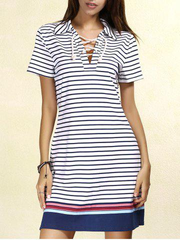 Sale Preppy Lace-Up Short Sleeve Colorful Striped Dress For Women STRIPE L