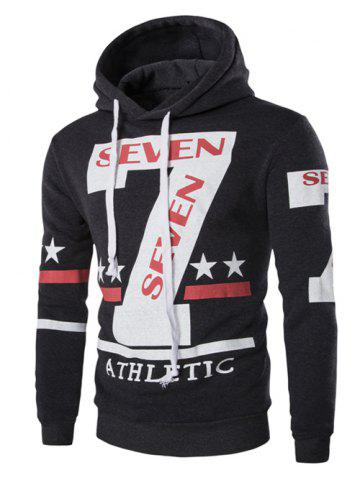 Affordable Fashion Hooded Letters Star Stripes Print Long Sleeves Hoodie For Men