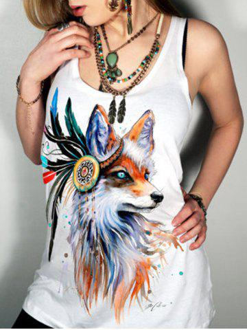 Sale Scoop Collar Animal Print Graphic Tank Top WHITE S