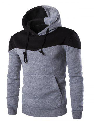 Best IZZUMI Classic Color Block Front Pocket Hooded Long Sleeves Hoodie For Men LIGHT GRAY XL