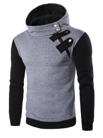 Buy Inclined Zipper Color Block Hooded Long Sleeves Hoodie For Men LIGHT GRAY XL