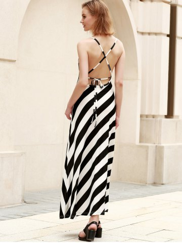 Discount Criss Cross Striped Maxi Dress