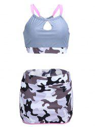 Camo Keyhole High Waisted Tankini