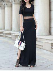 Stylish Scoop Collar Short Sleeve Gauze Spliced Slit Maxi Dress For Women