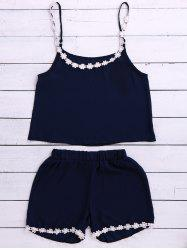 Chic Spaghetti Strap Laciness Tank Top + Elastic Waist Shorts Women's Twinset -