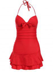 Attractive Halter Neck One-Piece Push-Up Solid Color Women's Swimwear -