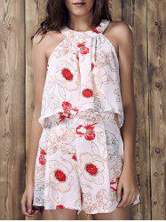 Stylish Round Neck Ruffled Floral Print Top and Short Suit For Women - WHITE
