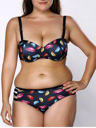 Fashionable Strap High Waist Lip Print Plus Size Bikini Set For Women