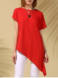 Neck Casual Round Asymmetric Solid Color manches courtes femmes s 'Tee  - Rouge