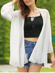 Casual Collarless Solid Color Batwing 3/4 Sleeve Women's Cover-Up -